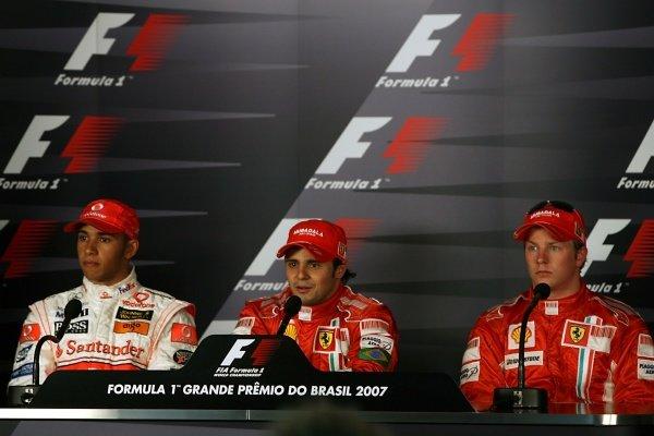 (L to R): Lewis Hamilton (GBR) McLaren, Felipe Massa (BRA) Ferrari and Kimi Raikkonen (FIN) Ferrari in the post qualifying press conference. Formula One World Championship, Rd17, Brazilian Grand Prix, Qualifying Day, Interlagos, Sao Paulo, Brazil, Saturday 20 October 2007.