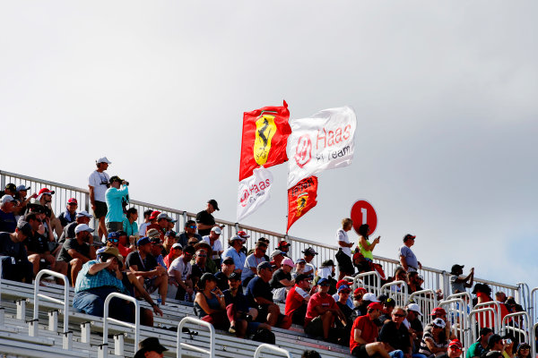 Circuit of the Americas, Austin, Texas, United States of America. Saturday 21 October 2017. Haas and Ferrari fans in the grandstand. World Copyright: Zak Mauger/LAT Images  ref: Digital Image _X0W5502