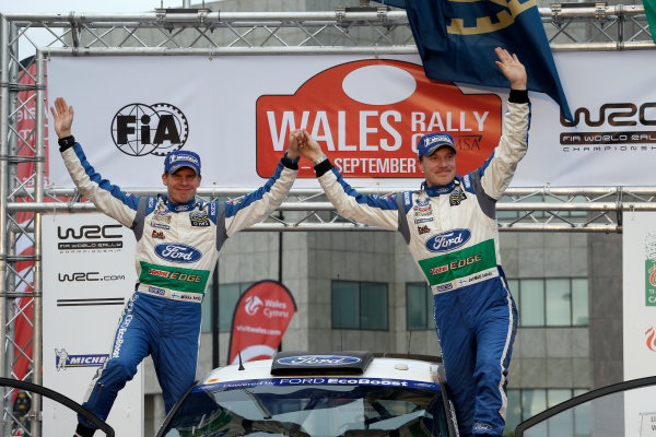 Round 10- Wales Rally GB 12-16/9- 2012.Jari-Matti Latvala, Miikka Anttila, Ford WRC, Podium.Worldwide Copyright: McKlein/LAT
