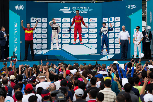 2015/2016 FIA Formula E Championship. Putrajaya ePrix, Putrajaya, Malaysia. Saturday 7 November 2015. Podium Lucas Di Grassi (BRA), ABT Audi Sport FE01, Sam Bird (GBR), DS Virgin Racing DSV-01 & Robin Frijns (NLD), Andretti - Spark SRT_01E on the podium Photo: Sam Bloxham/FIA Formula E/LAT ref: Digital Image _SBL1276