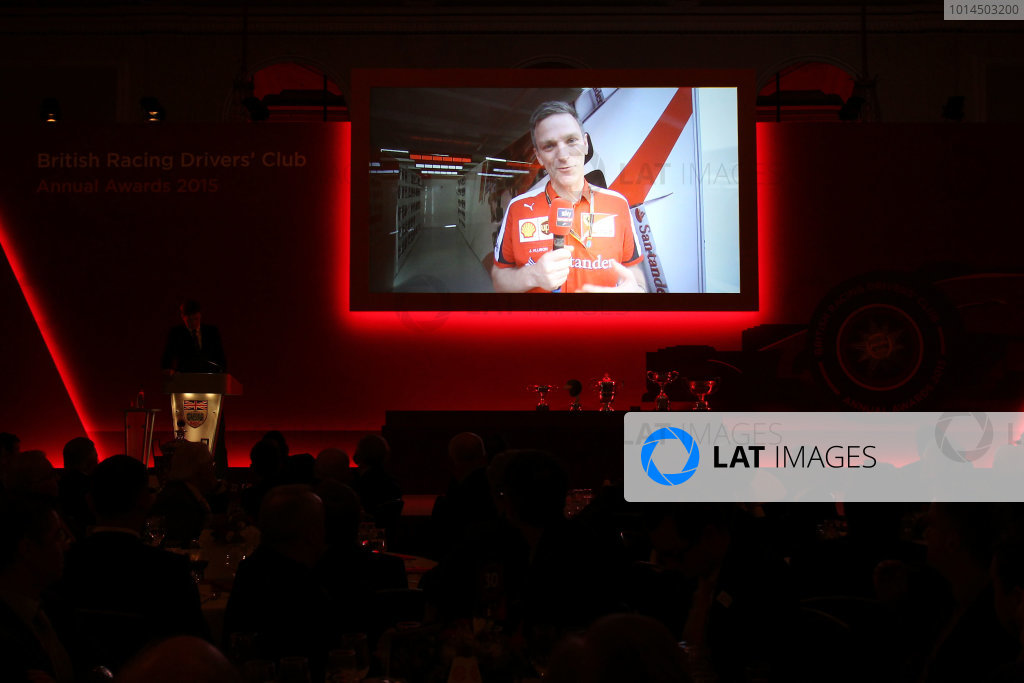 2015 British Racing Drivers Club Awards Grand Connaught Rooms, London Monday 7th December 2015 James Allison (Ferrari) accepts his award on screen. World Copyright: Jakob Ebrey/LAT Photographic ref: Digital Image Allison-01