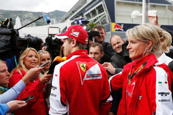 Monte Carlo, Monaco. Thursday 21 May 2015. Sebastian Vettel, Ferrari, talks to the media. World Copyright: Alastair Staley/LAT Photographic. ref: Digital Image _79P0264