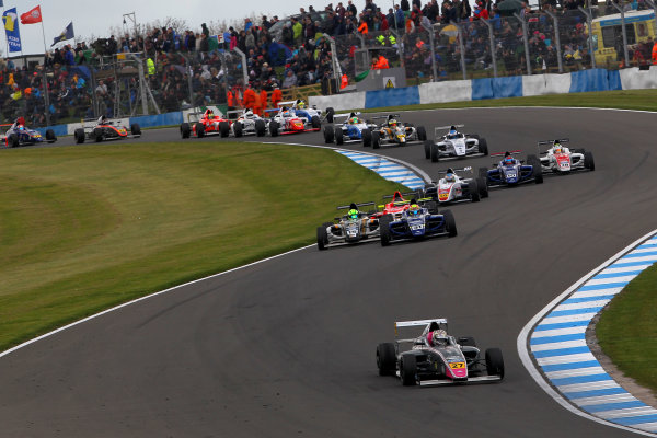 2015 MSA Formula Powered by Ford EcoBoost, Donington Park, Leicestershire. 16th - 19th April 2015. Start of Race 3 Daniel Ticktum (GBR) Fortec Motorsports MSA Formula leads. World Copyright: Ebrey / LAT Photographic.