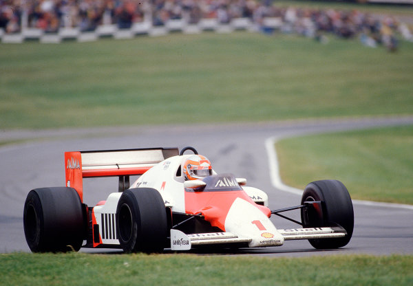 1985 European Grand Prix.Brands Hatch, England.4-6 October 1985.John Watson (McLaren MP4/2B TAG Porsche) 7th position. 