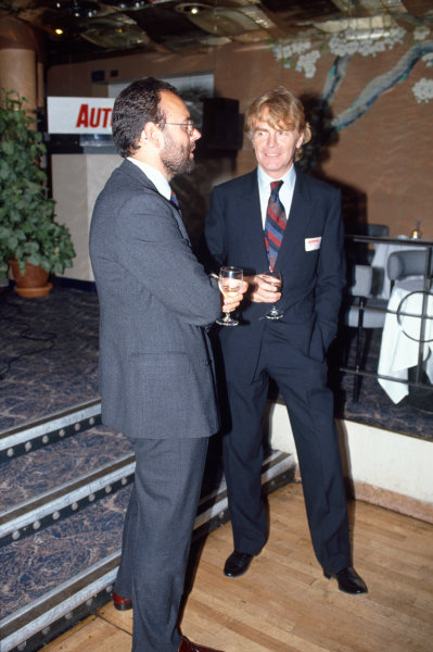 1990 Autosport 40th Anniversary Party. Roof Gardens, Kensington, England. 21st August 1990. Current Editor, Peter Foubister with Max Mosley, portrait. World Copyright: LAT Photographic.