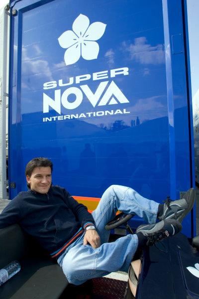 2005 GP2 Series - ImolaAutodromo Enzo e Dino Ferrari, Italy. 21st - 24th April.Thursday Preview.Giorgio Pantano (I, Super Nova International) relaxes in the paddock. Portrait.Photo: GP2 Series Media Serviceref: Digital Image Only.