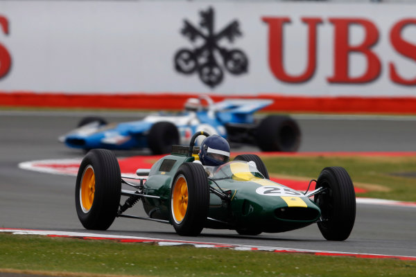 Silverstone, Northamptonshire, England. Saturday 5 July 2014. Jackie Oliver, Lotus 33, in the Legends parade. World Copyright: Charles Coates/LAT Photographic. ref: Digital Image _J5R6625