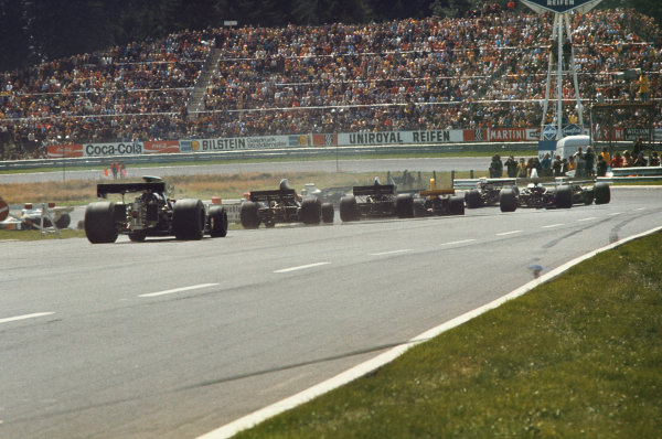 1973 German Grand Prix.  Nurburgring, Germany. 3-5th August 1973.  Rear view as the field heads into the South Curve at the start.  Ref: 73GER22. World Copyright: LAT Photographic