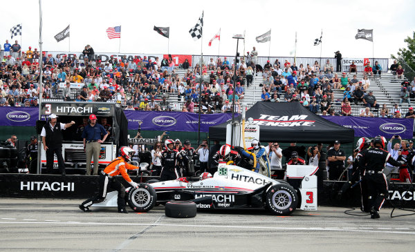 5 June, 2016, Detroit, Michigan USA Roger Penske and Michigan Governor Snyder watch Helio Castroneves Pit Stop ©2016, Maria W. Grady LAT Photo USA