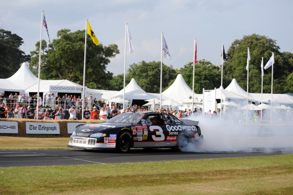 Goodwood Estate, Chichester England 11th - 14th July 2013. Kerry Earnhardt in his father Dale's Chevrolet Monte Carlo NASCAR. World Copyright: Jeff Bloxham/LAT Photographic ref: Digital Image DSC_7461