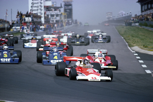 The second start: James Hunt, McLaren M23 Ford, leads Clay Regazzoni, Ferrari 312T2, and both Tyrrell P34 Ford's of Patrick Depailler and Jody Scheckter.