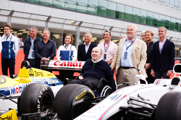 Williams 40 Event Silverstone, Northants, UK Friday 2 June 2017. L-R: Paul di Resta, Jason Plato, Martin Brundle, Claire Williams, Riccardo Patrese, Sir Frank Williams, Nigel Mansell, Keke Rosberg, Patrick Head, Damon Hill, Nico Rosberg and David Coulthard. World Copyright: Joe Portlock/LAT Images ref: Digital Image _L5R0634