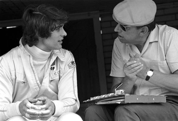 Francois Cevert(FRA) March 701, made his Grand Prix debut replacing Johnny Servoz-Gavin at Tyrrell, seen her with Ken Tyrrell(GBR), right
