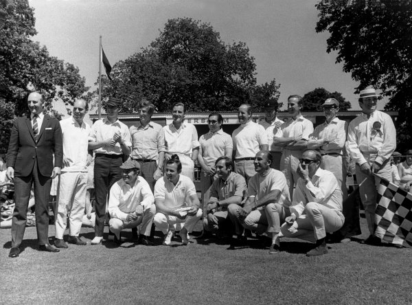 Brands Hatch, Great Britain. 21 July 1968 The team for the traditional post-GP cricket match, back row, left-to-right: Les Leston, Richard Attwood, Piers Courage, Jochen Rindt, Graham Hill, Pedro Rodriguez, Denny Hulme, Charles Lucas, Robin Widdows, Peter Proctor and Peter Jopp. Front row: Innes Ireland, Bruce McLaren, Chris Amon, Stirling Moss and Colin Chapman. The Grand Prix Drivers XI lost to Lord Bradbourne's XI, which included HRH Prince Charles, portrait, atmosphere World Copyright: David Hudson/LAT PhotographicRef:  DH - 68GB - Print.