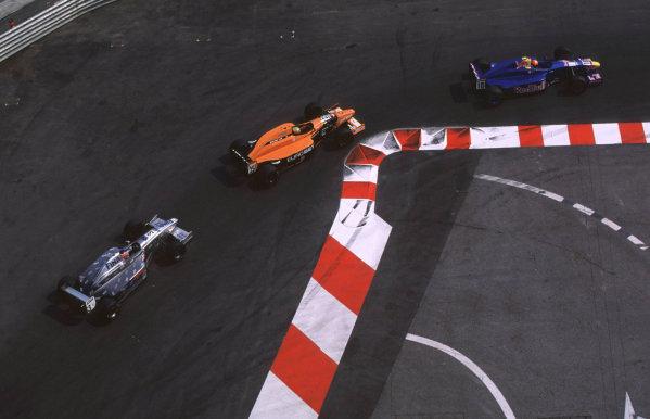 2000 Monaco International F3000 race.Monte Carlo.2-3 June 2000.Enrique Bernoldi leads Mark Webber and David Saelens.World - Bellanca/LAT Photographic