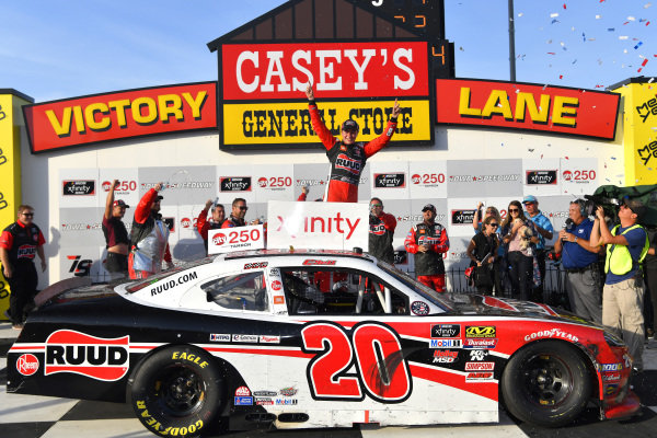#20: Christopher Bell, Joe Gibbs Racing, Toyota Supra Ruud celebrates in victory lane