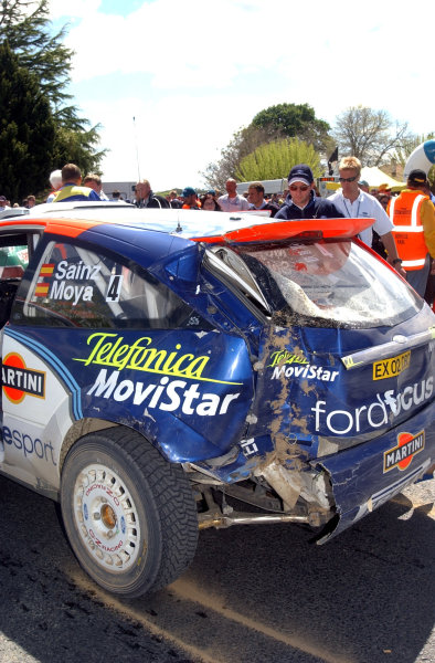2002 World Rally Championship.Propecia Rally of New Zealand, Auckland, October 3rd-6th.Damage to Carlos's Focus from stage 25.Photo: Ralph Hardwick/LAT
