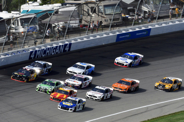 #9: Chase Elliott, Hendrick Motorsports, Chevrolet Camaro NAPA AUTO PARTS, #42: Kyle Larson, Chip Ganassi Racing, Chevrolet Camaro McDonald's, #18: Kyle Busch, Joe Gibbs Racing, Toyota Camry Interstate Batteries and #37: Chris Buescher, JTG Daugherty Racing, Chevrolet Camaro Kroger Fast Start