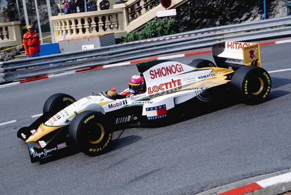 1994 Monaco Grand Prix.Monte Carlo, Monaco. 12-15 May 1994.Pedro Lamy (Lotus 107C Mugen Honda) 11th position, at Loews Hairpin.Ref-94 MON 83.World Copyright - Martyn Elford/LAT Photographic