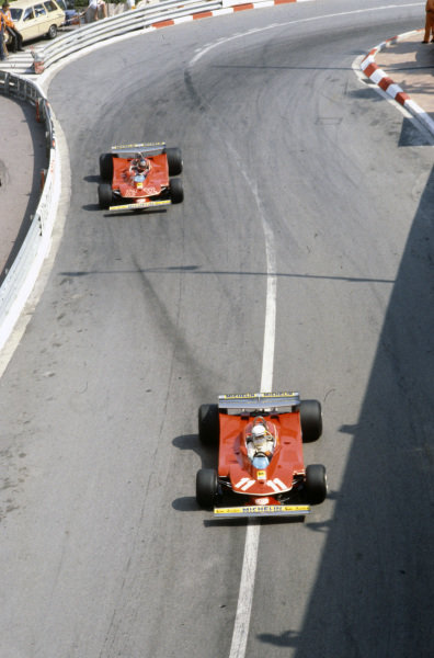 Jody Scheckter, Ferrari 312T4 leads teammate Gilles Villeneuve, Ferrari 312T4.