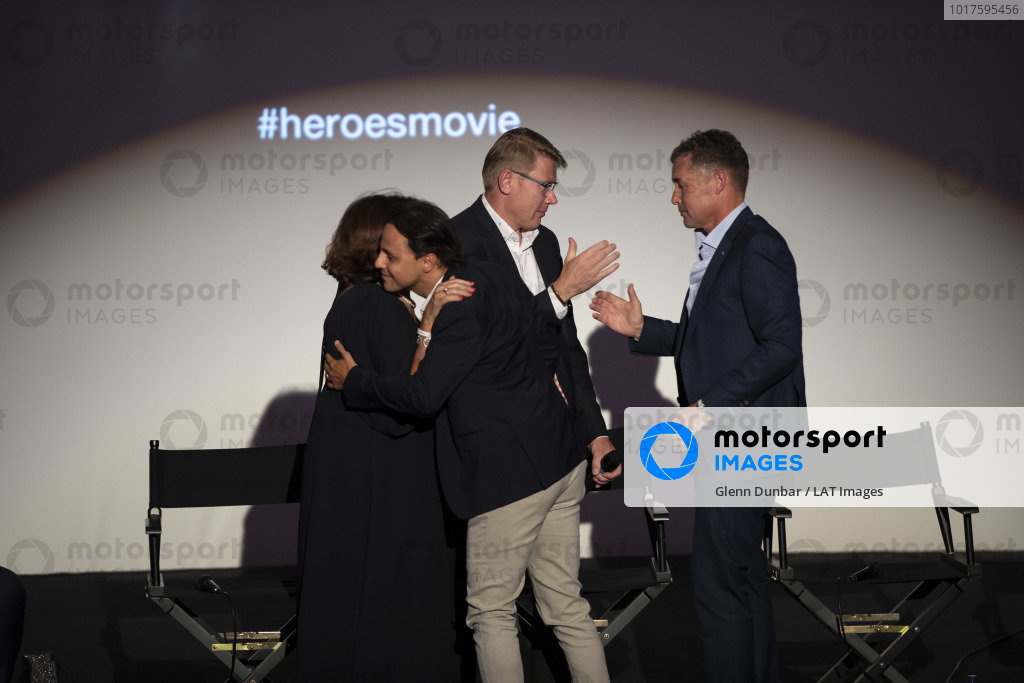 Michele Mouton, Mika Hakkinen, Felipe Massa and Tom Kristensen on stage