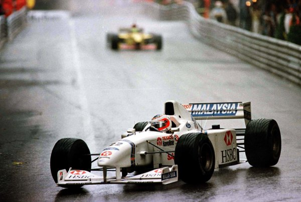 1997 Monaco Grand Prix.Monte Carlo, Monaco.8-11 May 1997.Rubens Barrichello (Stewart SF1 Ford) 2nd position at Mirabeau.World Copyright - LAT Photographic
