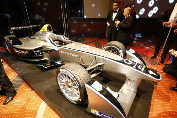 2013 FIA Gala Dinner and Awards. Paris, France. Friday 6th December 2013. New Formula E car on display. World Copyright & Mandatory Credit: FIA. ref: Digital Image 11242049025_6b2433ef5e_o
