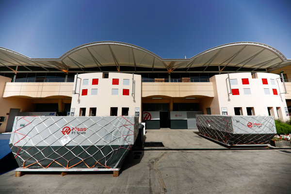 Bahrain International Circuit, Sakhir, Bahrain.  Tuesday 18 April 2017. Haas frieght in the paddock. World Copyright: Glenn Dunbar/LAT Images ref: Digital Image _X4I1889