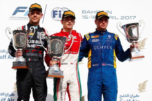 2017 FIA Formula 2 Round 1. Bahrain International Circuit, Sakhir, Bahrain.  Sunday 16 April 2017. Charles Leclerc (MCO, PREMA Racing) Luca Ghiotto (ITA, RUSSIAN TIME) and Oliver Rowland (GBR, DAMS)  Photo: Zak Mauger/FIA Formula 2. ref: Digital Image _J6I1794