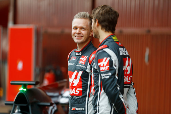 HAAS F1 Car Formula 1 Launch. Barcelona, Spain  Monday 27 February 2017. Romain Grosjean, Haas F1. and Kevin Magnussen, Haas F1 World Copyright: Dunbar/LAT Images Ref: _O3I5172