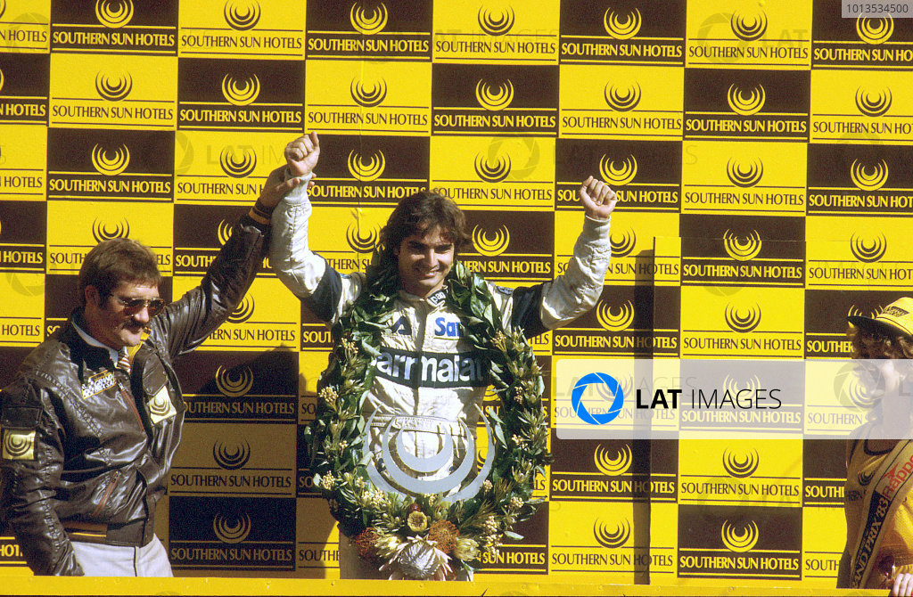 Kyalami, South Africa.13-15 October 1983.Nelson Piquet (Brabham BT52B-BMW) 3rd position, podium.World Copyright: LAT Photographic.Ref: 83 SA 14.