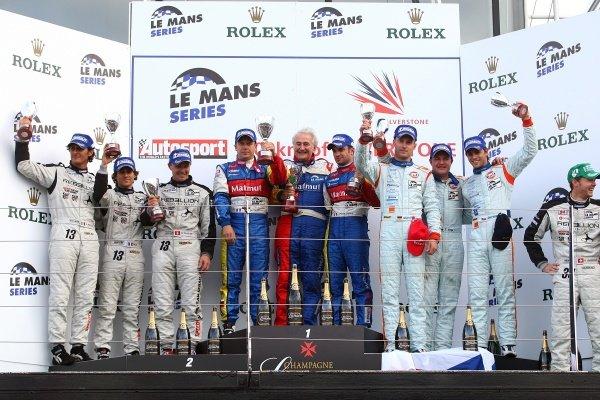 LMP1 podium and results:1st Olivier Panis (FRA) / Nicolas Lapierre (FRA), Team Oreca Matmut, centre.2nd Andrea Belicchi (ITA) / Marcel Fassler (GER) / Nicolas Prost (FRA), Speedy Racing Team Sebah, left.3rd Jan Charouz (CZE) / Tomas Enge (CZE) / Stefan Mucke (GER), Lola Aston Martin, right.Le Mans Series, Rd7, Silverstone, England, Sunday 13 September 2009.