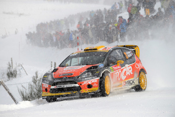 Martin Prokop (CZE) and Michal Ernst (CZE), Ford Fiesta RS WRC on stage 6. FIA World Rally Championship, Rd1, Rally Monte Carlo, Day Two, Monte Carlo, 17 January 2013.