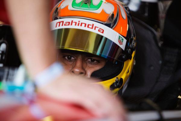 FIA Formula E Test Day, Donington Park, UK.  3rd - 4th July 2014.  Karun Chandhok, Mahindra Racing. Photo: Malcolm Griffiths/FIA Formula E ref: Digital Image A50A2830