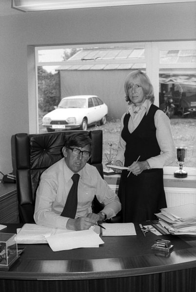 Team owner Ken Tyrrell (GBR) with wife Norah Tyrrell (GBR) in his office at the Tyrrell factory.