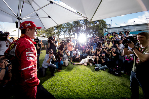 Albert Park, Melbourne, Australia. Thursday 23 March 2017. Kimi Raikkonen, Ferrari SF70H, poses for photographers. World Copyright: Glenn Dunbar/LAT Images Ref: Digital Image _X4I7992