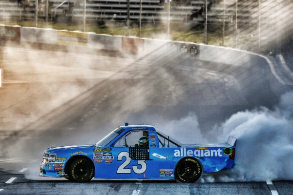 NASCAR Camping World Truck Series Alpha Energy Solutions 250 Martinsville Speedway, Martinsville, VA USA Saturday 1 April 2017 Chase Elliott celebrates his victory World Copyright: Scott R LePage/LAT Images ref: Digital Image lepage-170401-mv-3034s