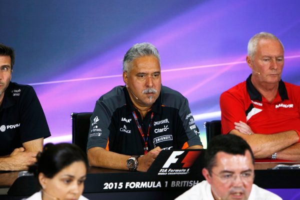 Silverstone Circuit, Northamptonshire, England. Friday 3 July 2015. Vijay Mallya, Team Principal and Managing Director, Force India, in the team principals Press Conference. World Copyright: Andrew Ferraro/LAT Photographic ref: Digital Image _FER1972