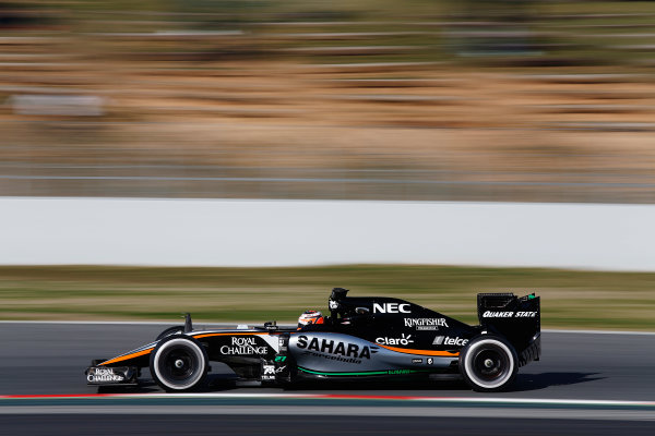2015 F1 Pre Season Test 3 - Day 2 Circuit de Catalunya, Barcelona, Spain. Friday 27 February 2015. Nico Hulkenberg, Force India VJM08 Mercedes. World Copyright: Sam Bloxham/LAT Photographic. ref: Digital Image _14P3293