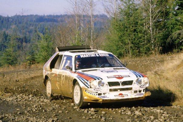 1986 World Rally Championship.Olympus Rally, United States (USA). 4-7 December 1986.Markku Alen/Ilkka Kivimaki (Lancia Delta S4), 1st position.World Copyright: LAT PhotographicRef: 35mm transparency 86RALLY09