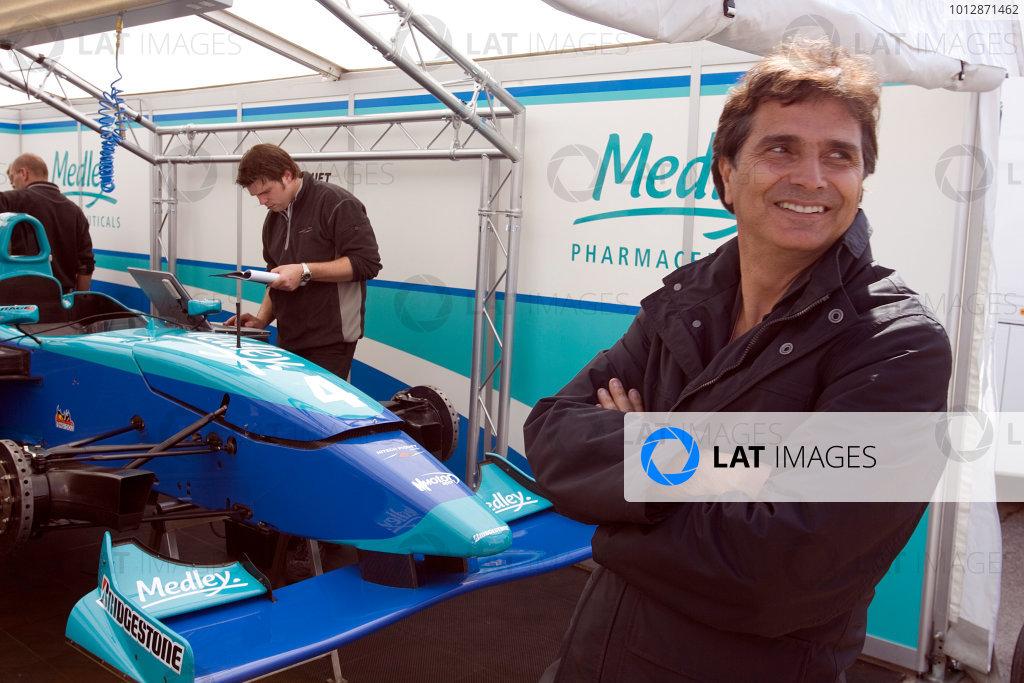 2005 GP2 Series - ImolaAutodromo Enzo e Dino Ferrari, Italy. 21st - 24th April.Thursday Preview.Triple Formula 1 World Champion Nelson Piquet in his son's HiTech Piquet Pit. Portrait. Photo: GP2 Series Media Serviceref: Digital Image Only.