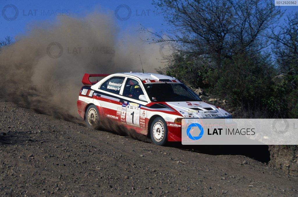 1998 World Rally Championship.Argentine Rally, Argentina. 20-23 May 1998.Tommi Makinen/Risto Mannisenmaki (Mitsubishi Lancer Evo5), 1st position.World Copyright: LAT PhotographicRef: 35mm transparency 98RALLY06