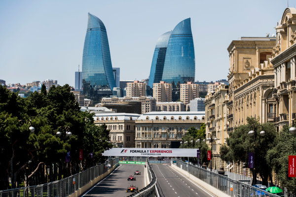 2017 FIA Formula 2 Round 4. Baku City Circuit, Baku, Azerbaijan. Friday 23 June 2017. Louis Deletraz (SUI, Racing Engineering), Nobuharu Matsushita (JPN, ART Grand Prix), Ralph Boschung (SUI, Campos Racing)  Photo: Zak Mauger/FIA Formula 2. ref: Digital Image _56I6660
