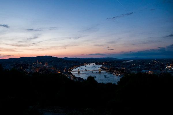 Hungaroring, Budapest, Hungary. Monday 5 June 2017. A view of the city at dusk. World Copyright: Zak Mauger/LAT Images ref: Digital Image _56I0564