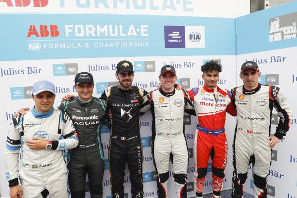 Felipe Massa (BRA), Venturi Formula E, Mitch Evans (NZL), Panasonic Jaguar Racing, Jean-Eric Vergne (FRA), DS TECHEETAH, Oliver Rowland (GBR), Nissan e.Dams, Pascal Wehrlein (DEU), Mahindra Racing and Sébastien Buemi (CHE), Nissan e.Dams after super pole
