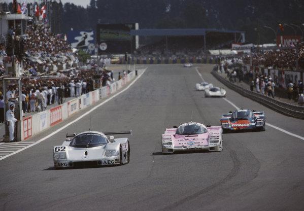 Jean-Louis Schlesser / Jean-Pierre Jabouille / Alain Cudini, Team Sauber Mercedes, Sauber-Mercedes C9/88, leads Bob Wollek / Hans-Joachim Stuck, Joest Racing, Porsche 962 C.