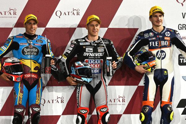 Top 3 after Qualifying, Xavi Vierge, Marc VDS Racing, Marcel Schrotter, Intact GP, Lorenzo Baldassarri, Pons HP40.