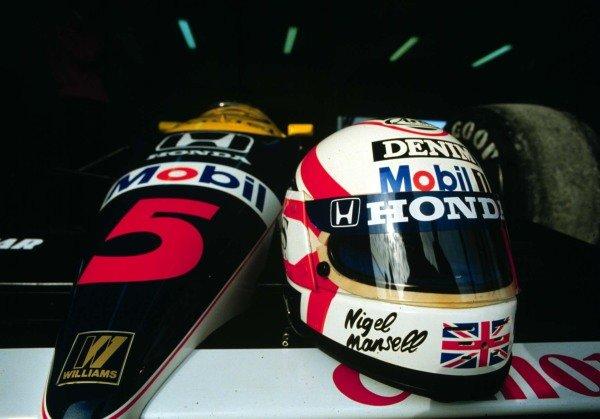 "1986 Brazilian Grand Prix.Jacarepagua, Rio de Janeiro, Brazil.21-23 March 1986.""Red 5"". Nigel Mansell (Williams FW11 Honda).World Copyright - LAT Photographic"