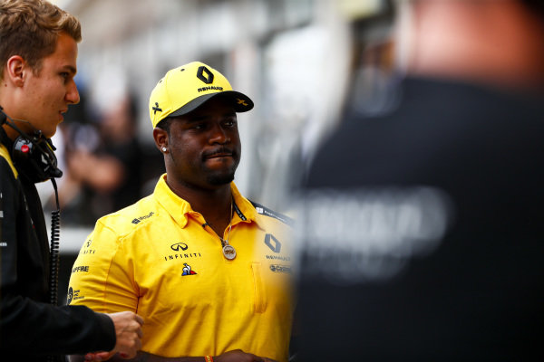 ASAP Ferg, American rapper in the pit lane with Renault F1 Team