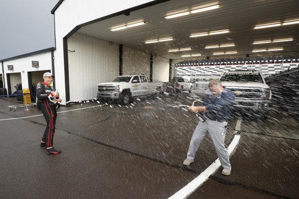 Will Power, Team Penske Chevrolet, podium, champagne